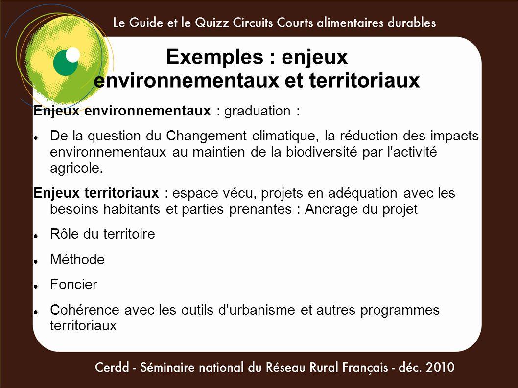 Exemples : enjeux environnementaux et territoriaux Enjeux environnementaux : graduation : De la question du Changement climatique, la réduction des im