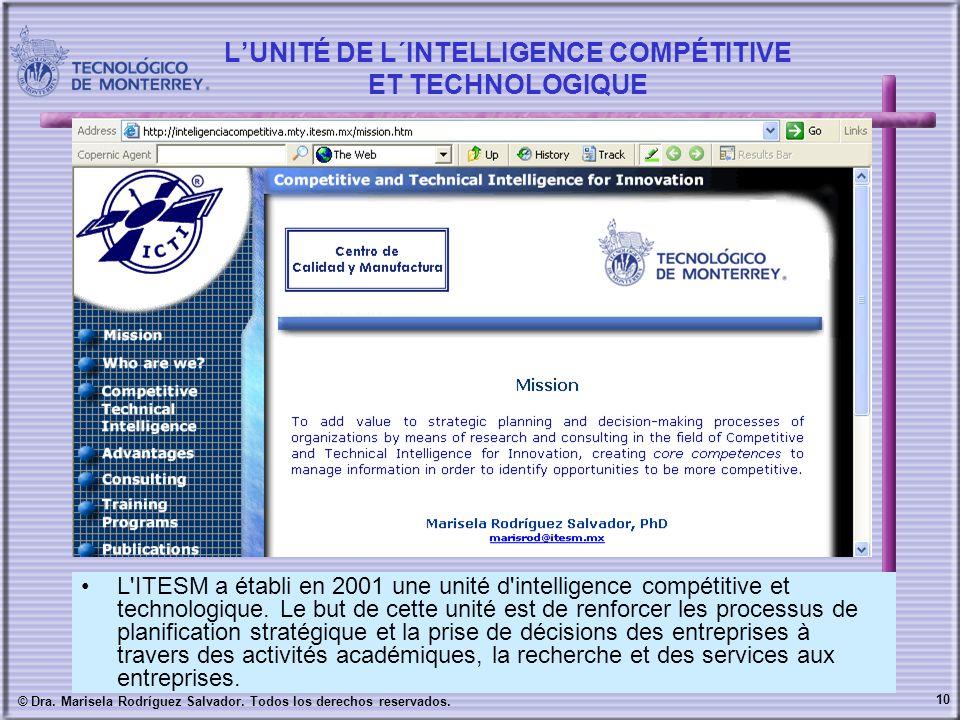 10 © Dra. Marisela Rodríguez Salvador. Todos los derechos reservados. LUNITÉ DE L´INTELLIGENCE COMPÉTITIVE ET TECHNOLOGIQUE L'ITESM a établi en 2001 u