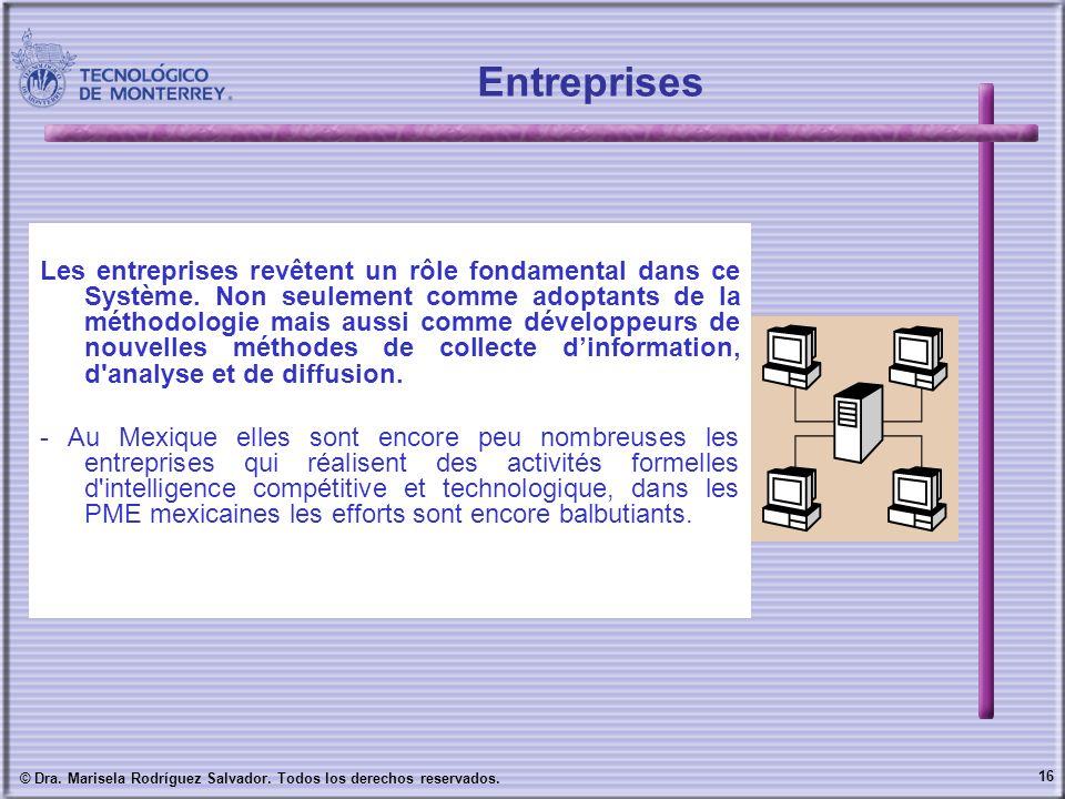 16 © Dra. Marisela Rodríguez Salvador. Todos los derechos reservados. Les entreprises revêtent un rôle fondamental dans ce Système. Non seulement comm