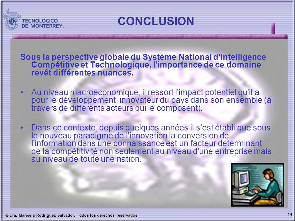 19 © Dra. Marisela Rodríguez Salvador. Todos los derechos reservados. CONCLUSION Sous la perspective globale du Système National d'Intelligence Compét