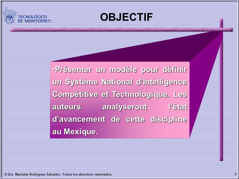 2 © Dra. Marisela Rodríguez Salvador. Todos los derechos reservados. OBJECTIF Présenter un modèle pour définir un Système National dIntelligence Compé