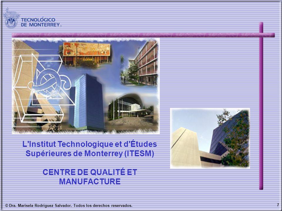 7 © Dra. Marisela Rodríguez Salvador. Todos los derechos reservados. L'Institut Technologique et d'Études Supérieures de Monterrey (ITESM) CENTRE DE Q