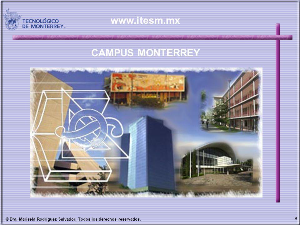 9 © Dra. Marisela Rodríguez Salvador. Todos los derechos reservados. CAMPUS MONTERREY www.itesm.mx