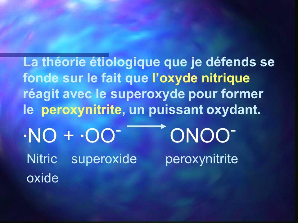 La théorie étiologique que je défends se fonde sur le fait que loxyde nitrique réagit avec le superoxyde pour former le peroxynitrite, un puissant oxy