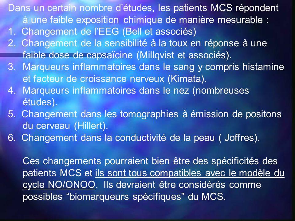 Dans un certain nombre détudes, les patients MCS répondent à une faible exposition chimique de manière mesurable : 1. Changement de lEEG (Bell et asso