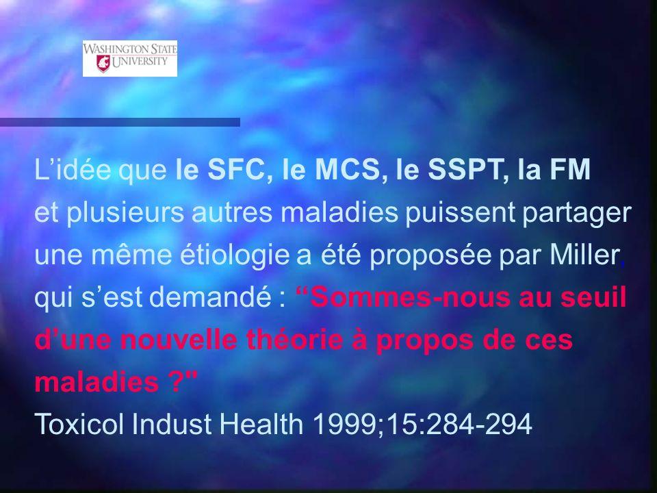 Lidée que le SFC, le MCS, le SSPT, la FM et plusieurs autres maladies puissent partager une même étiologie a été proposée par Miller, qui sest demandé