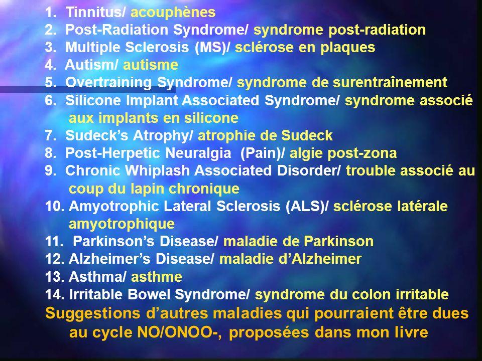 1. Tinnitus/ acouphènes 2. Post-Radiation Syndrome/ syndrome post-radiation 3. Multiple Sclerosis (MS)/ sclérose en plaques 4. Autism/ autisme 5. Over