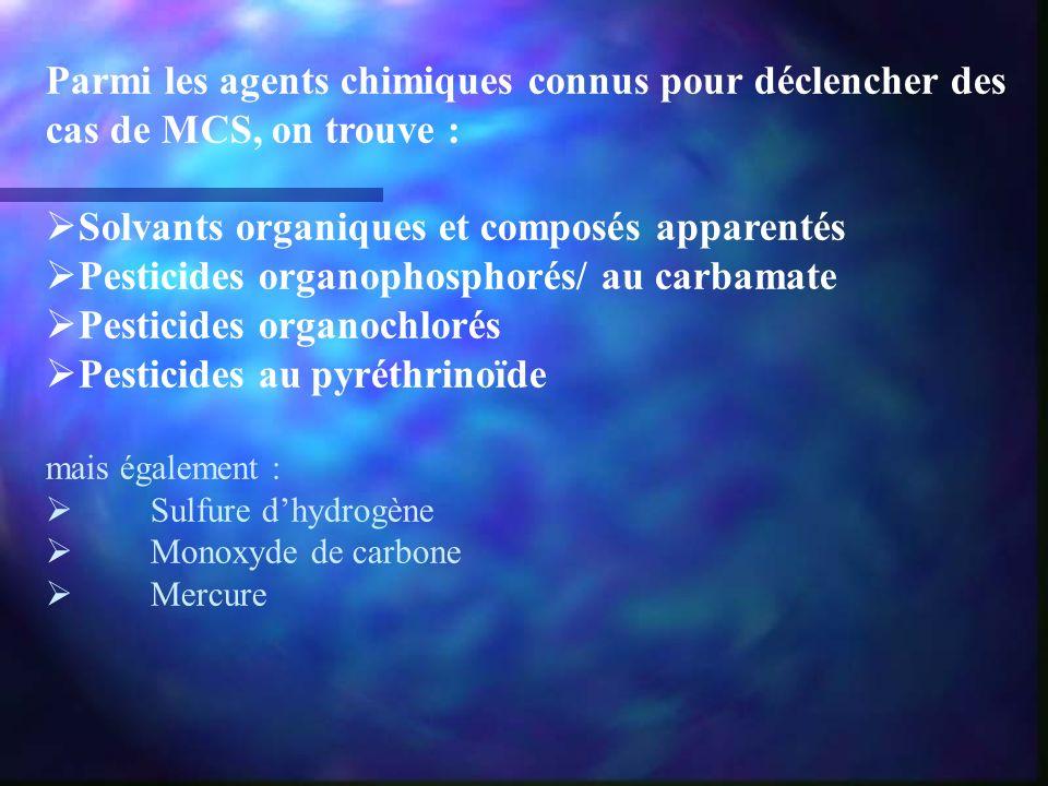 Parmi les agents chimiques connus pour déclencher des cas de MCS, on trouve : Solvants organiques et composés apparentés Pesticides organophosphorés/