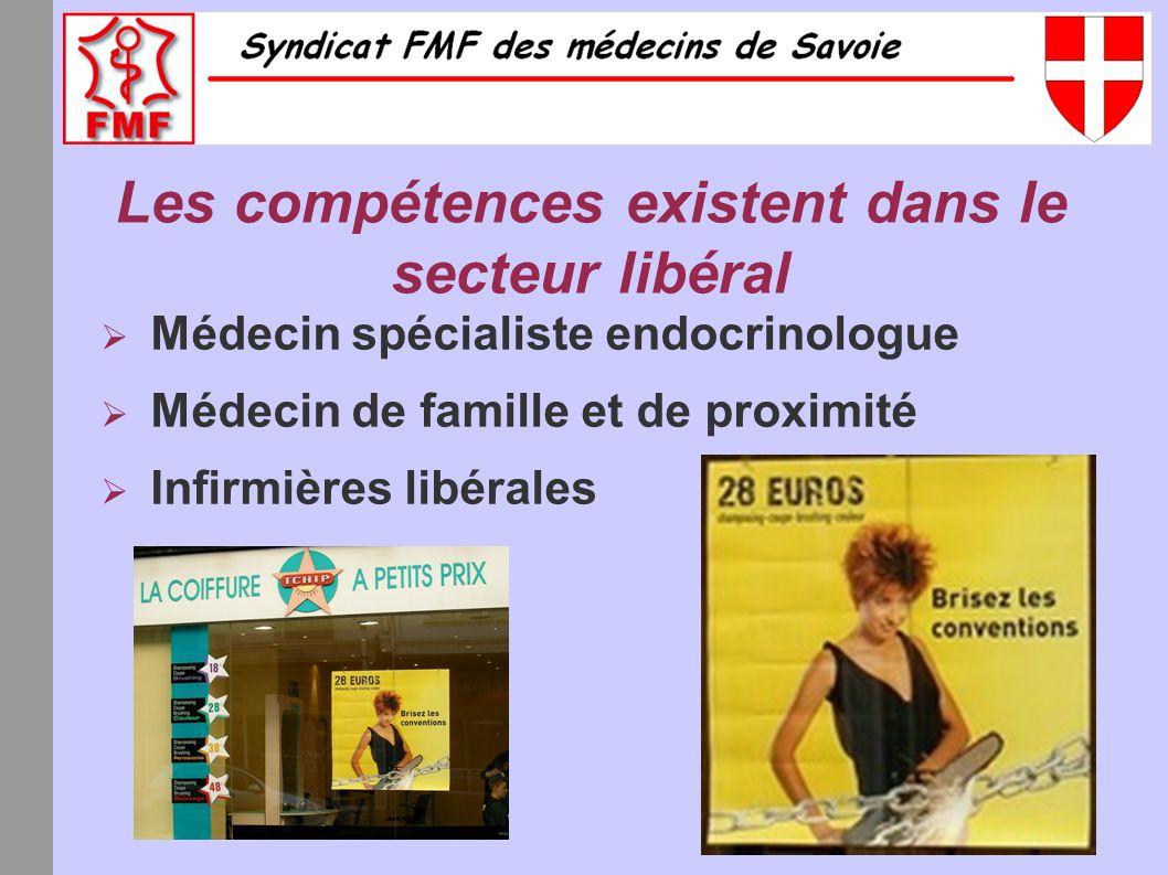 Les compétences existent dans le secteur libéral Médecin spécialiste endocrinologue Médecin de famille et de proximité Infirmières libérales