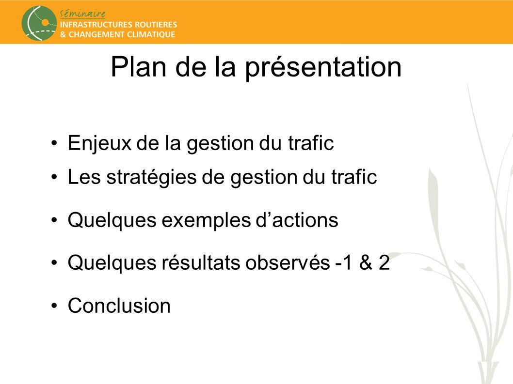 Plan de la présentation Enjeux de la gestion du trafic Les stratégies de gestion du trafic Quelques exemples dactions Quelques résultats observés -1 & 2 Conclusion