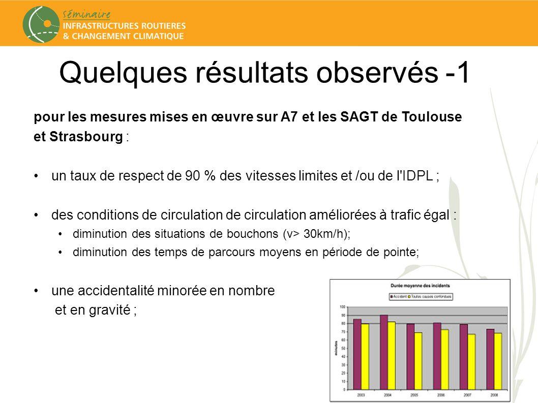 Quelques résultats observés -1 pour les mesures mises en œuvre sur A7 et les SAGT de Toulouse et Strasbourg : un taux de respect de 90 % des vitesses limites et /ou de l IDPL ; des conditions de circulation de circulation améliorées à trafic égal : diminution des situations de bouchons (v> 30km/h); diminution des temps de parcours moyens en période de pointe; une accidentalité minorée en nombre et en gravité ;