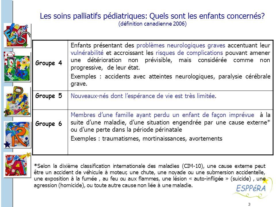 3 Les soins palliatifs pédiatriques: Quels sont les enfants concernés? (définition canadienne 2006) Groupe 4 Enfants présentant des problèmes neurolog