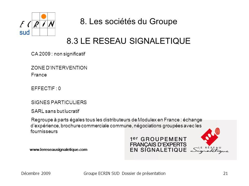 Décembre 2009Groupe ECRIN SUD Dossier de présentation21 8. Les sociétés du Groupe 8.3 LE RESEAU SIGNALETIQUE www.lereseausignaletique.com CA 2009 : no