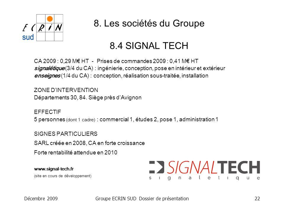 Décembre 2009Groupe ECRIN SUD Dossier de présentation22 8. Les sociétés du Groupe 8.4 SIGNAL TECH CA 2009 : 0,29 M HT - Prises de commandes 2009 : 0,4