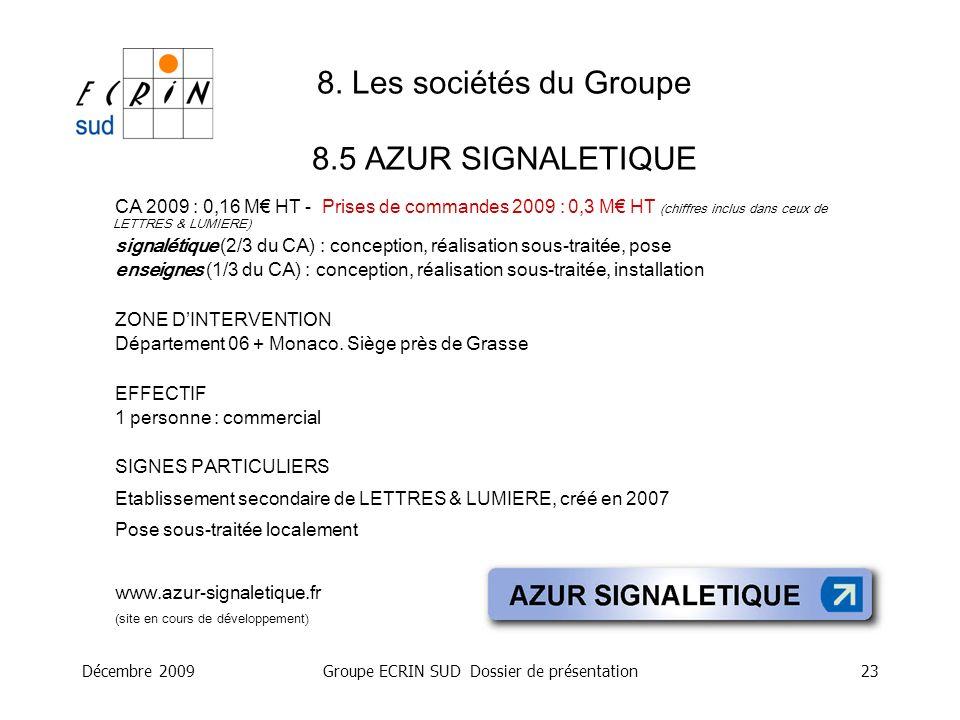 Décembre 2009Groupe ECRIN SUD Dossier de présentation23 8. Les sociétés du Groupe 8.5 AZUR SIGNALETIQUE CA 2009 : 0,16 M HT - Prises de commandes 2009