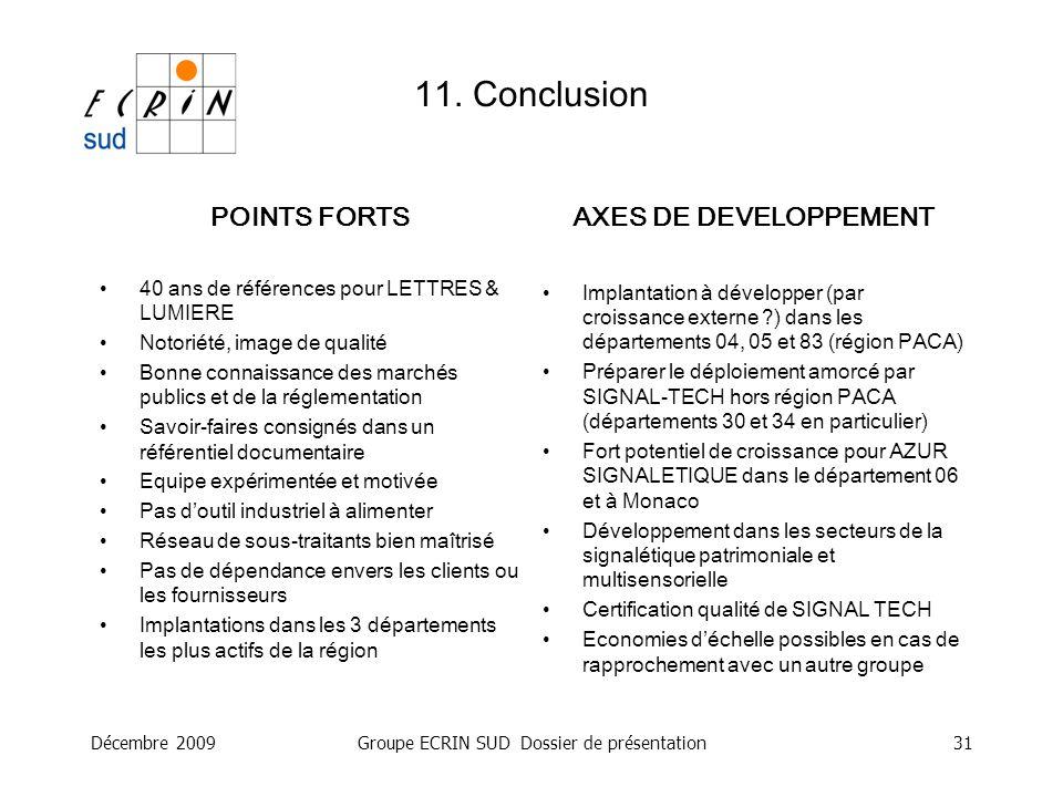 Décembre 2009Groupe ECRIN SUD Dossier de présentation31 POINTS FORTS 40 ans de références pour LETTRES & LUMIERE Notoriété, image de qualité Bonne con