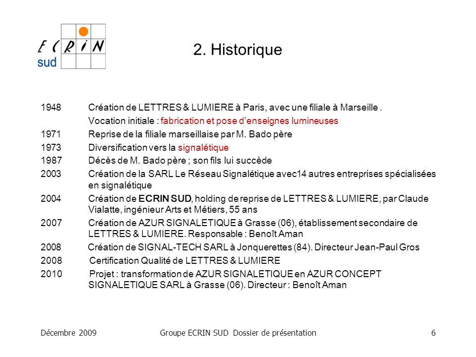 Décembre 2009Groupe ECRIN SUD Dossier de présentation7 Communication visuelle : –Création de logos et chartes graphiques Enseignes : –Conception –Fabrication –Pose Signalétique : –Conception –Fabrication –Pose 3.