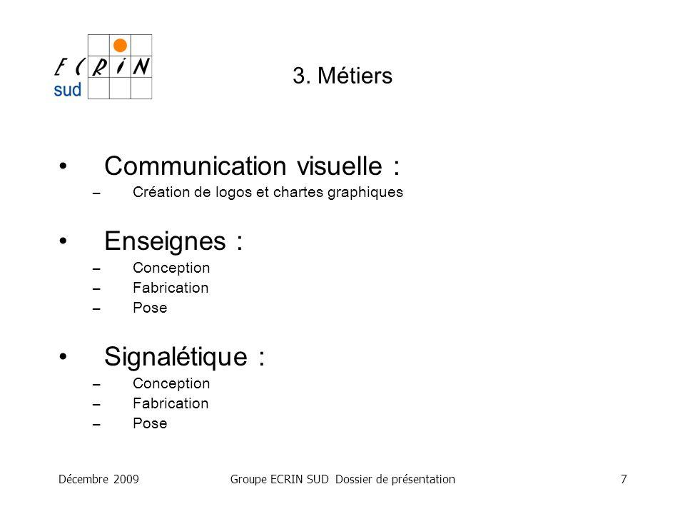 Décembre 2009Groupe ECRIN SUD Dossier de présentation7 Communication visuelle : –Création de logos et chartes graphiques Enseignes : –Conception –Fabr