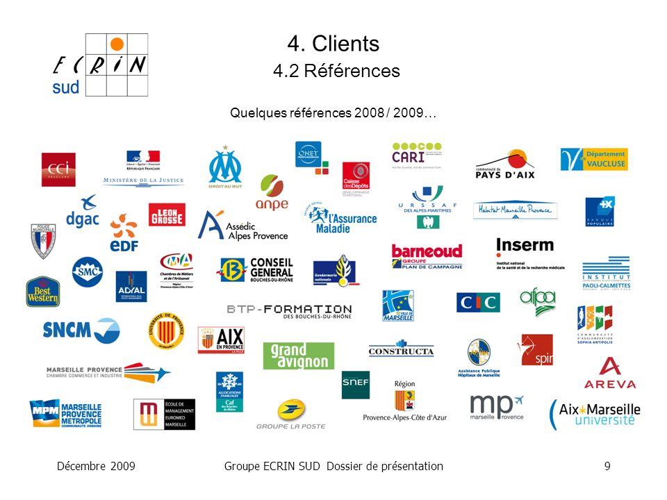 Décembre 2009Groupe ECRIN SUD Dossier de présentation9 4. Clients 4.2 Références Quelques références 2008 / 2009…