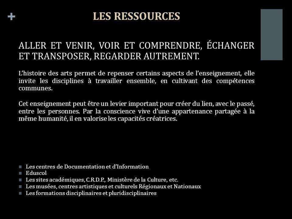 + LES RESSOURCES ALLER ET VENIR, VOIR ET COMPRENDRE, ÉCHANGER ET TRANSPOSER, REGARDER AUTREMENT.