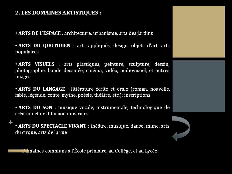 + 2. LES DOMAINES ARTISTIQUES : ARTS DE LESPACE : architecture, urbanisme, arts des jardins ARTS DU QUOTIDIEN : arts appliqués, design, objets dart, a