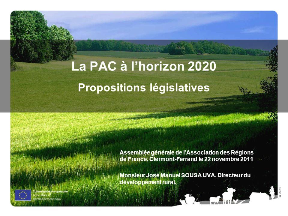 Olof S. La PAC à lhorizon 2020 Propositions législatives Assemblée générale de lAssociation des Régions de France, Clermont-Ferrand le 22 novembre 201