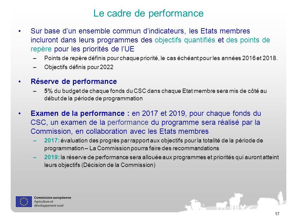 17 Le cadre de performance Sur base dun ensemble commun dindicateurs, les Etats membres incluront dans leurs programmes des objectifs quantifiés et de