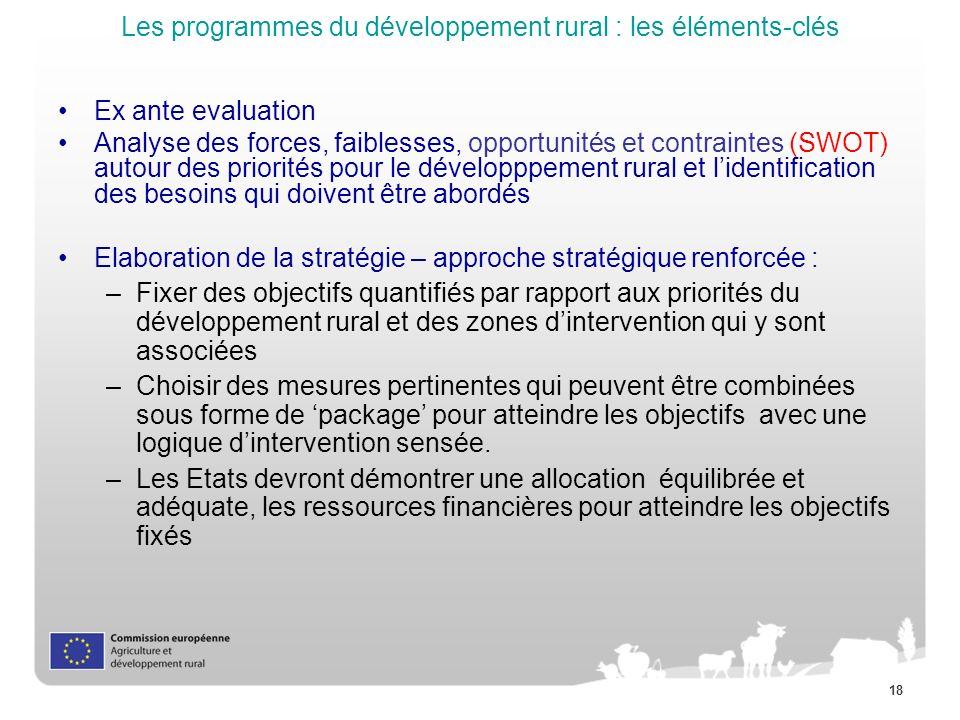18 Les programmes du développement rural : les éléments-clés Ex ante evaluation Analyse des forces, faiblesses, opportunités et contraintes (SWOT) aut