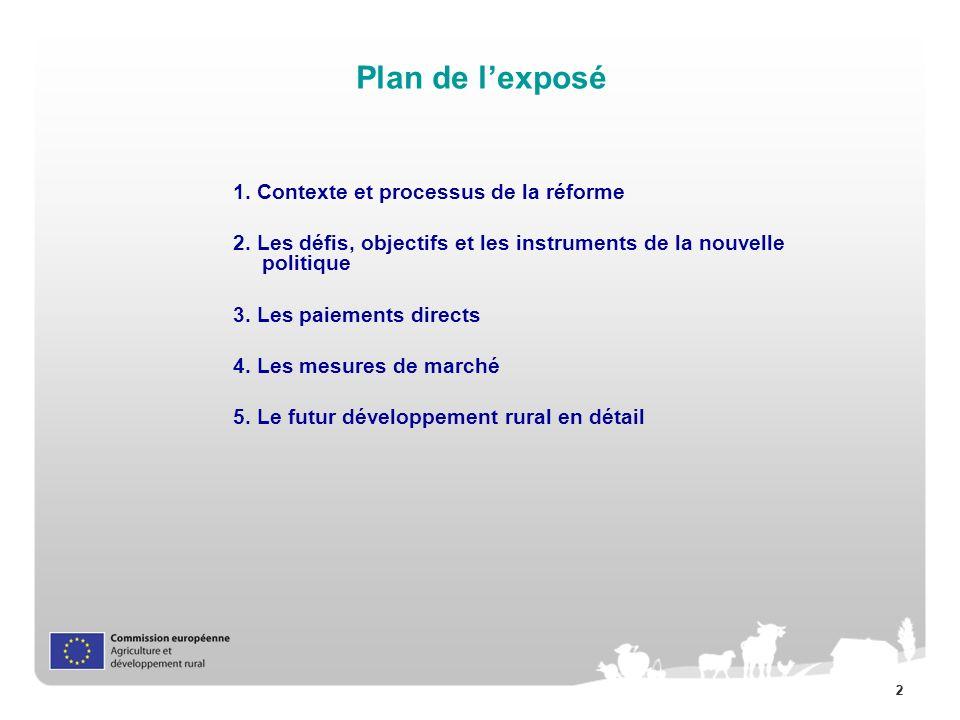 22 Plan de lexposé 1. Contexte et processus de la réforme 2. Les défis, objectifs et les instruments de la nouvelle politique 3. Les paiements directs