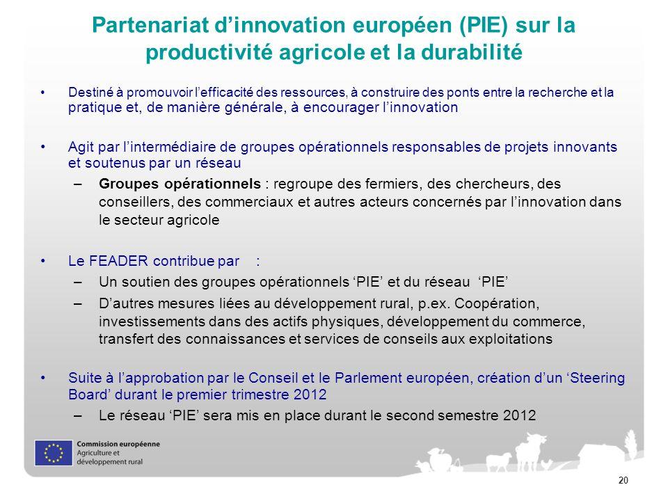 20 Partenariat dinnovation européen (PIE) sur la productivité agricole et la durabilité Destiné à promouvoir lefficacité des ressources, à construire