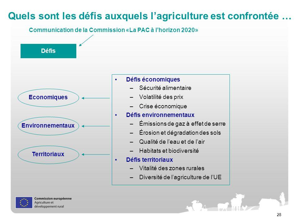 28 Quels sont les défis auxquels lagriculture est confrontée … Défis Environnementaux Economiques Territoriaux Défis économiques –Sécurité alimentaire