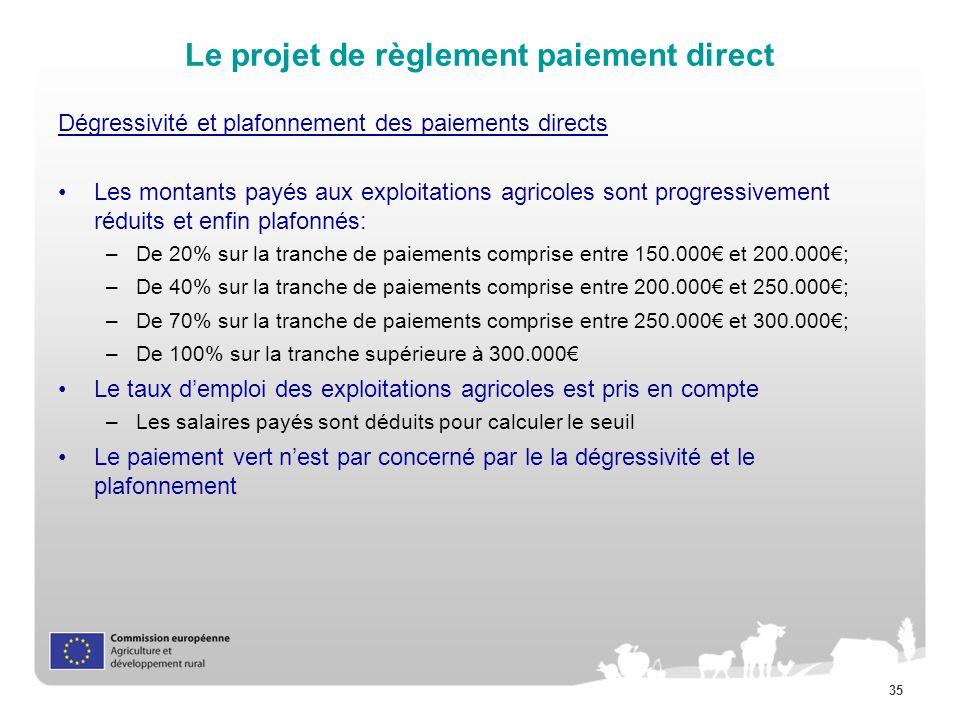 35 Le projet de règlement paiement direct Dégressivité et plafonnement des paiements directs Les montants payés aux exploitations agricoles sont progr