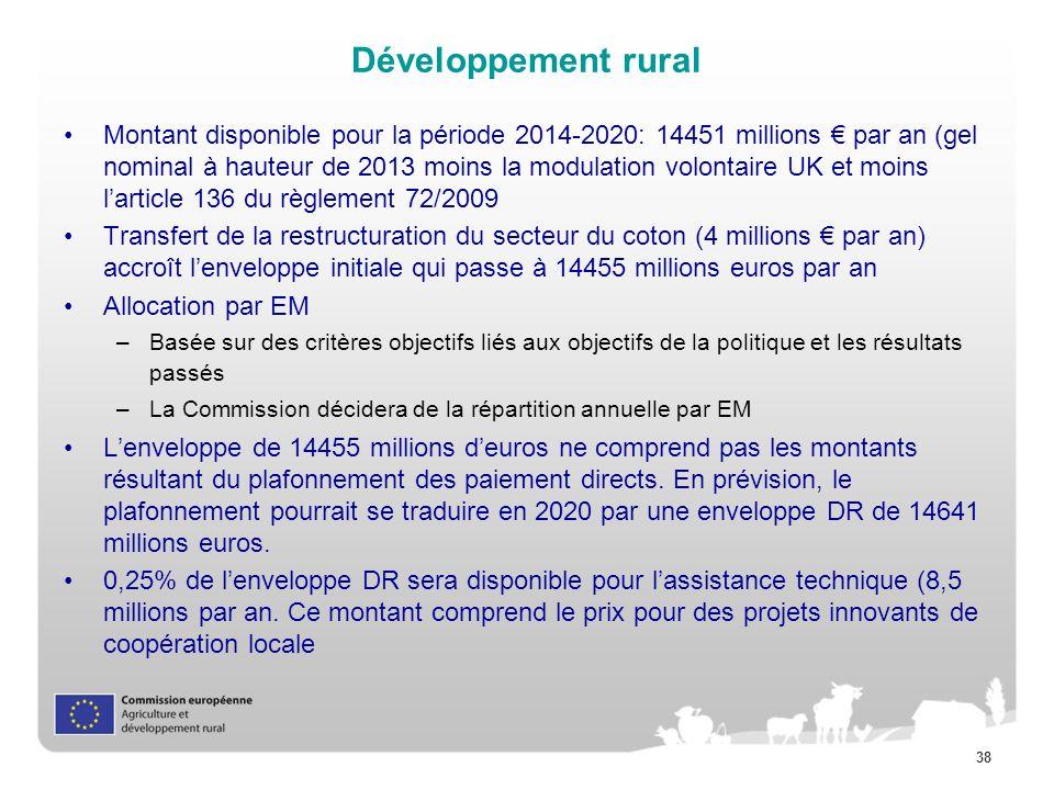 38 Développement rural Montant disponible pour la période 2014-2020: 14451 millions par an (gel nominal à hauteur de 2013 moins la modulation volontai