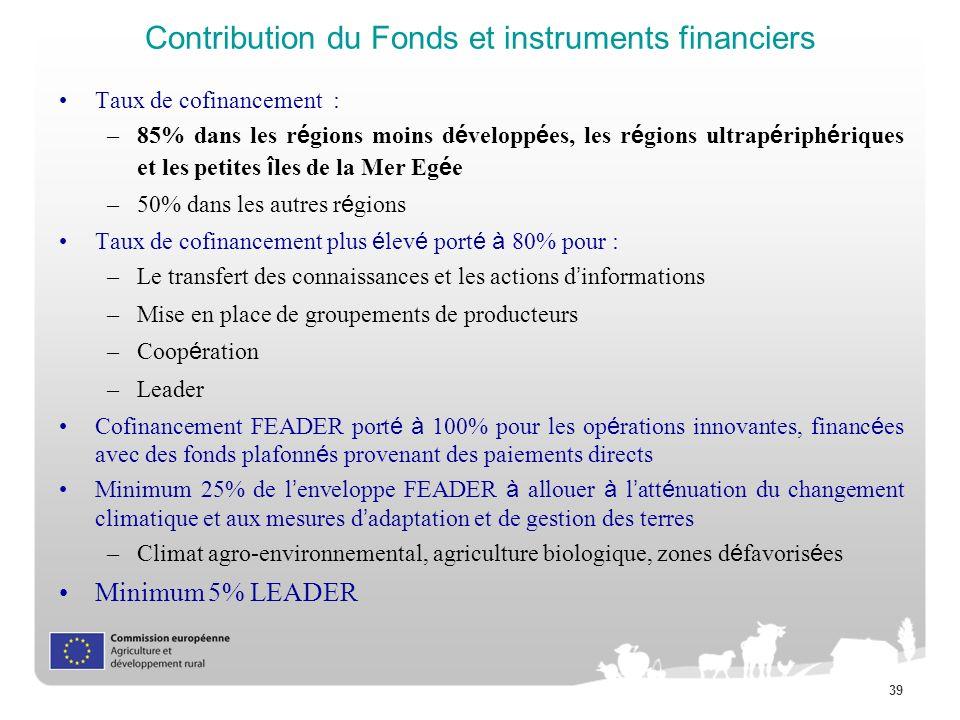 39 Contribution du Fonds et instruments financiers Taux de cofinancement : –85% dans les r é gions moins d é velopp é es, les r é gions ultrap é riph