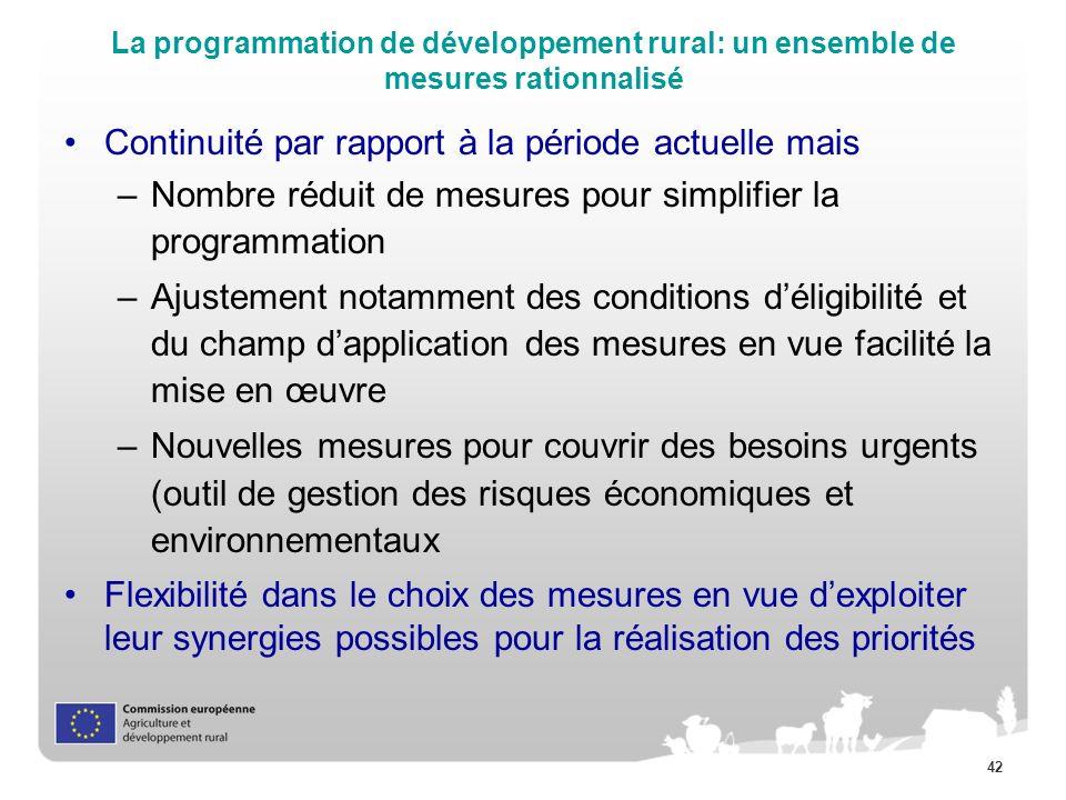 42 La programmation de développement rural: un ensemble de mesures rationnalisé Continuité par rapport à la période actuelle mais –Nombre réduit de me