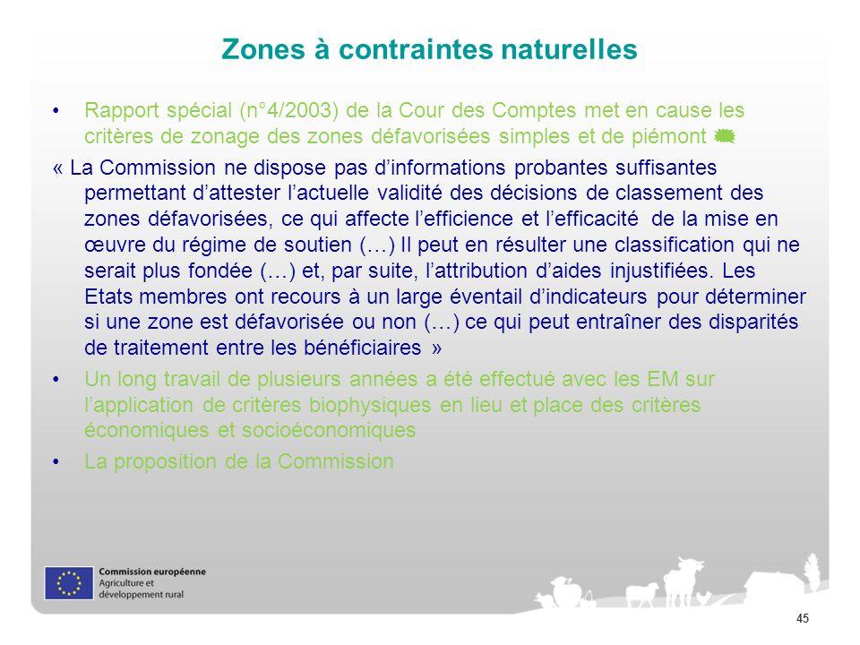 45 Zones à contraintes naturelles Rapport spécial (n°4/2003) de la Cour des Comptes met en cause les critères de zonage des zones défavorisées simples