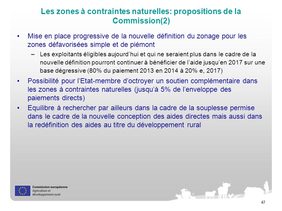 47 Les zones à contraintes naturelles: propositions de la Commission(2) Mise en place progressive de la nouvelle définition du zonage pour les zones d