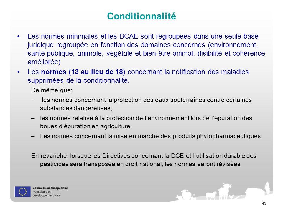 49 Conditionnalité Les normes minimales et les BCAE sont regroupées dans une seule base juridique regroupée en fonction des domaines concernés (enviro