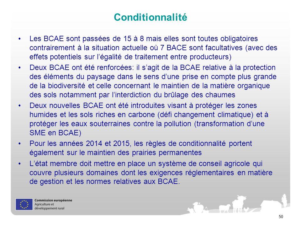 50 Conditionnalité Les BCAE sont passées de 15 à 8 mais elles sont toutes obligatoires contrairement à la situation actuelle où 7 BACE sont facultativ