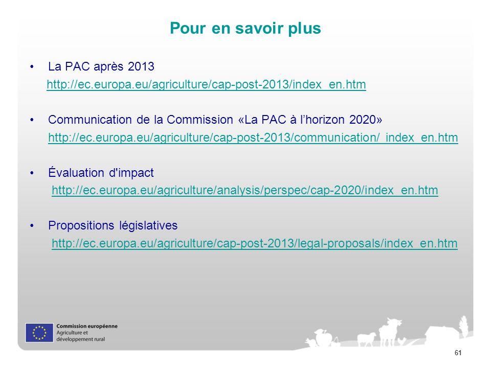 61 Pour en savoir plus La PAC après 2013 http://ec.europa.eu/agriculture/cap-post-2013/index_en.htm Communication de la Commission «La PAC à lhorizon