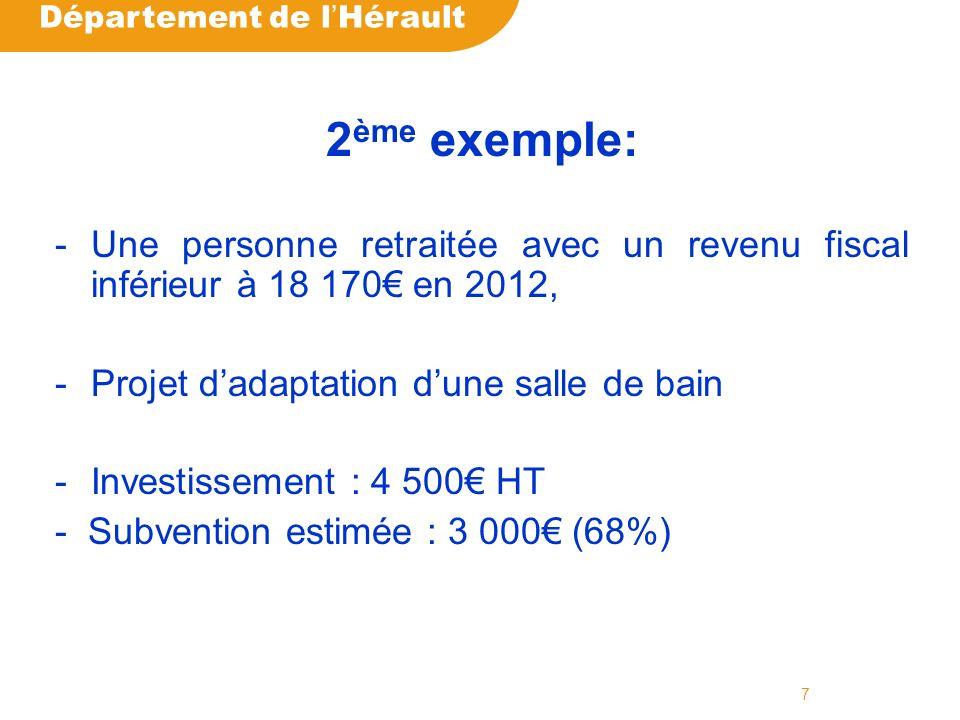 Département de l Hérault 7 2 ème exemple: -Une personne retraitée avec un revenu fiscal inférieur à 18 170 en 2012, -Projet dadaptation dune salle de bain -Investissement : 4 500 HT - Subvention estimée : 3 000 (68%)