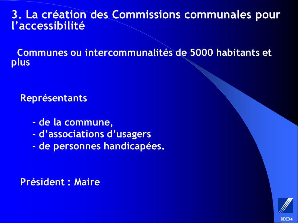 3. La création des Commissions communales pour laccessibilité Communes ou intercommunalités de 5000 habitants et plus Représentants - de la commune, -