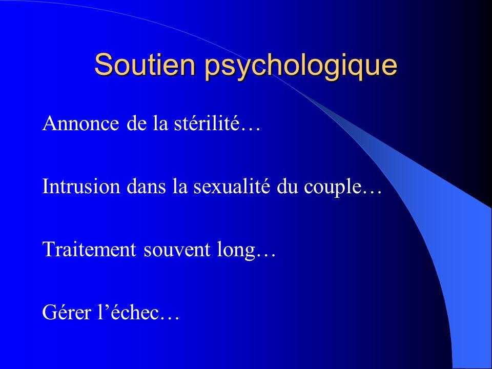 Soutien psychologique Annonce de la stérilité… Intrusion dans la sexualité du couple… Traitement souvent long… Gérer léchec…