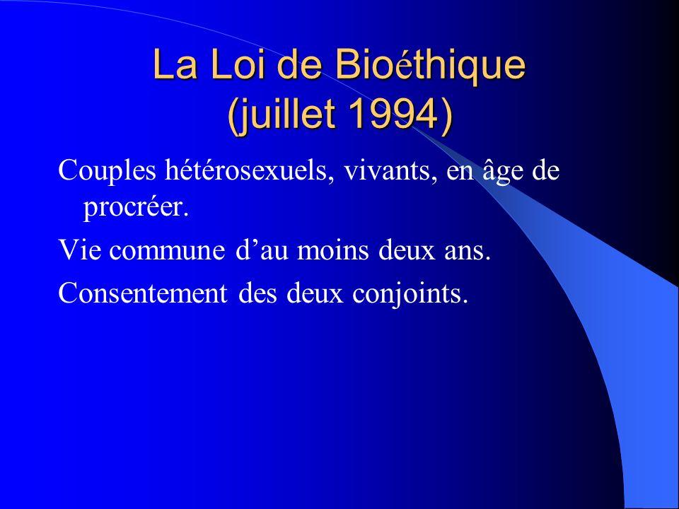 La Loi de Bio é thique (juillet 1994) Couples hétérosexuels, vivants, en âge de procréer. Vie commune dau moins deux ans. Consentement des deux conjoi