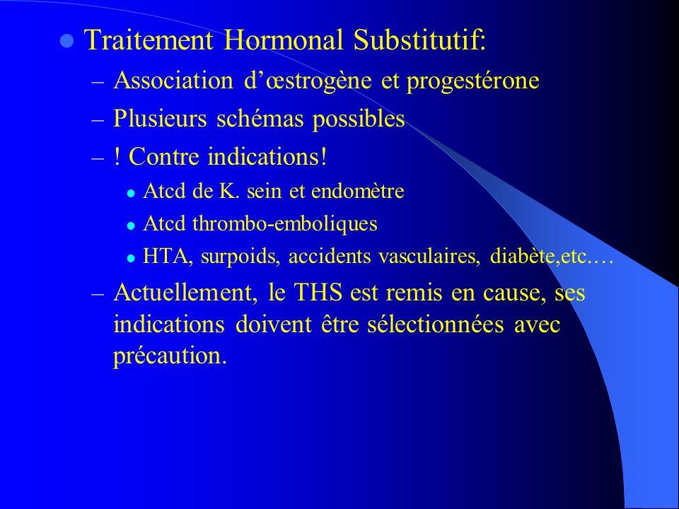 Traitement Hormonal Substitutif: – Association dœstrogène et progestérone – Plusieurs schémas possibles – ! Contre indications! Atcd de K. sein et end