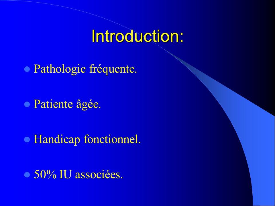 Introduction: Pathologie fréquente. Patiente âgée. Handicap fonctionnel. 50% IU associées.