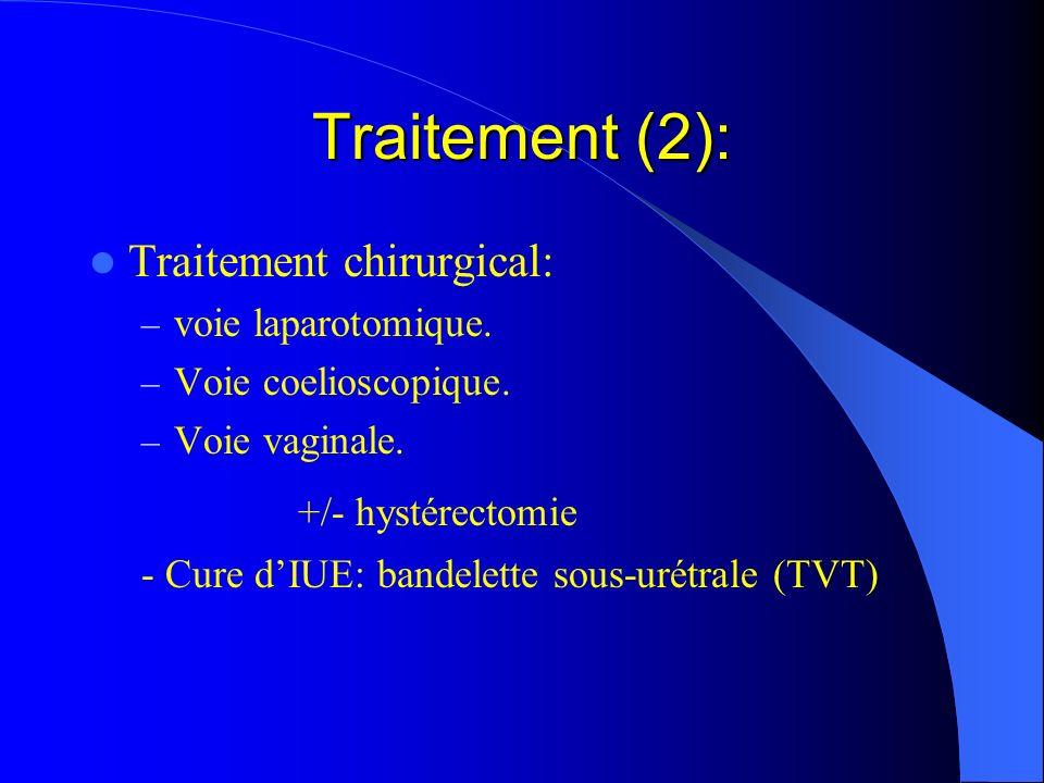 Traitement (2): Traitement chirurgical: – voie laparotomique. – Voie coelioscopique. – Voie vaginale. +/- hystérectomie - Cure dIUE: bandelette sous-u