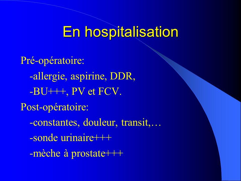 En hospitalisation Pré-opératoire: -allergie, aspirine, DDR, -BU+++, PV et FCV. Post-opératoire: -constantes, douleur, transit,… -sonde urinaire+++ -m