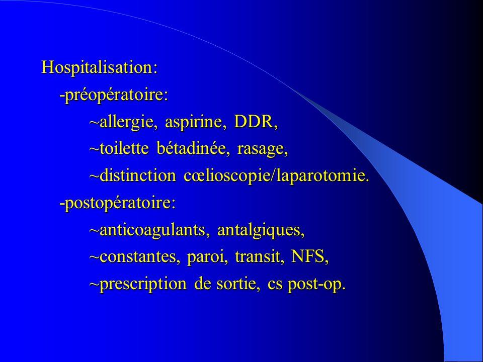 Hospitalisation:-préopératoire: ~allergie, aspirine, DDR, ~toilette bétadinée, rasage, ~distinction cœlioscopie/laparotomie. -postopératoire: ~anticoa