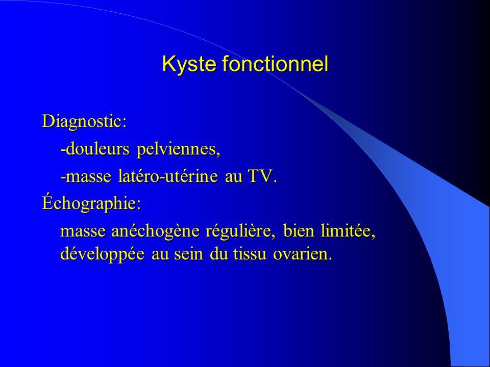 Kyste fonctionnel Diagnostic: -douleurs pelviennes, -masse latéro-utérine au TV. Échographie: masse anéchogène régulière, bien limitée, développée au